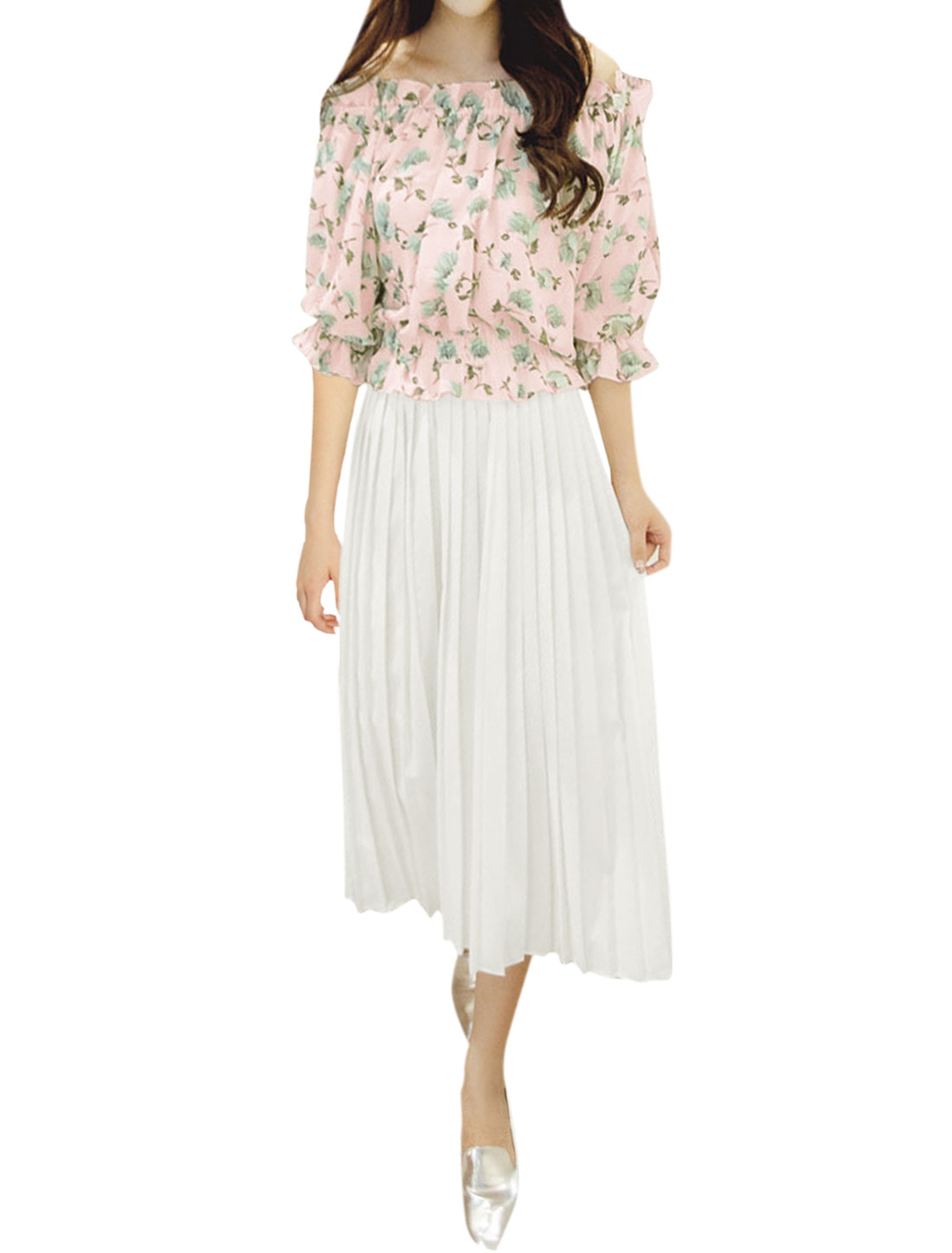 Women Off Shoulder Flower Top w Pleated Capris Culottes Sets Pink White XS