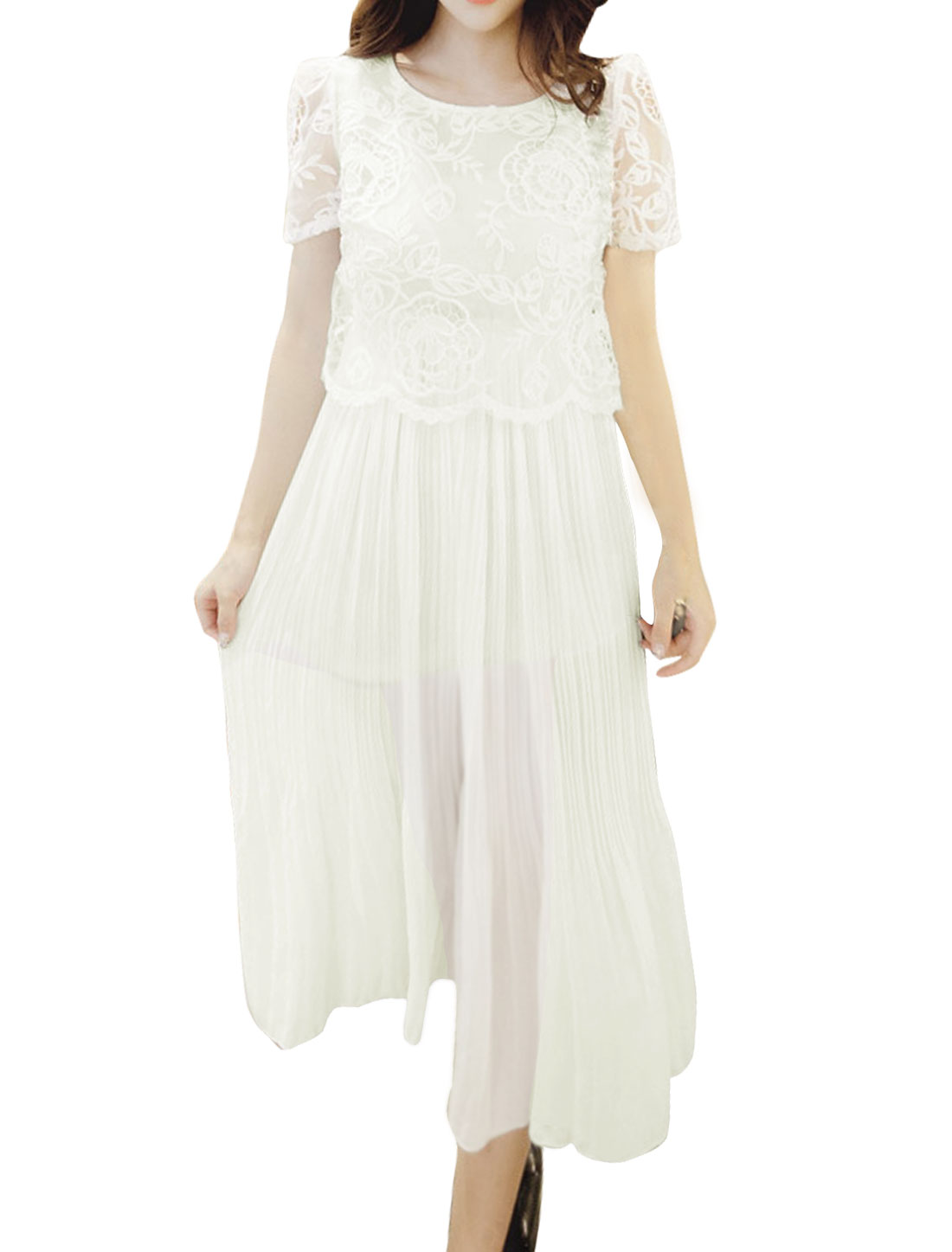 Women Flower Leaves Embroidery Pleated Midi Dress White S
