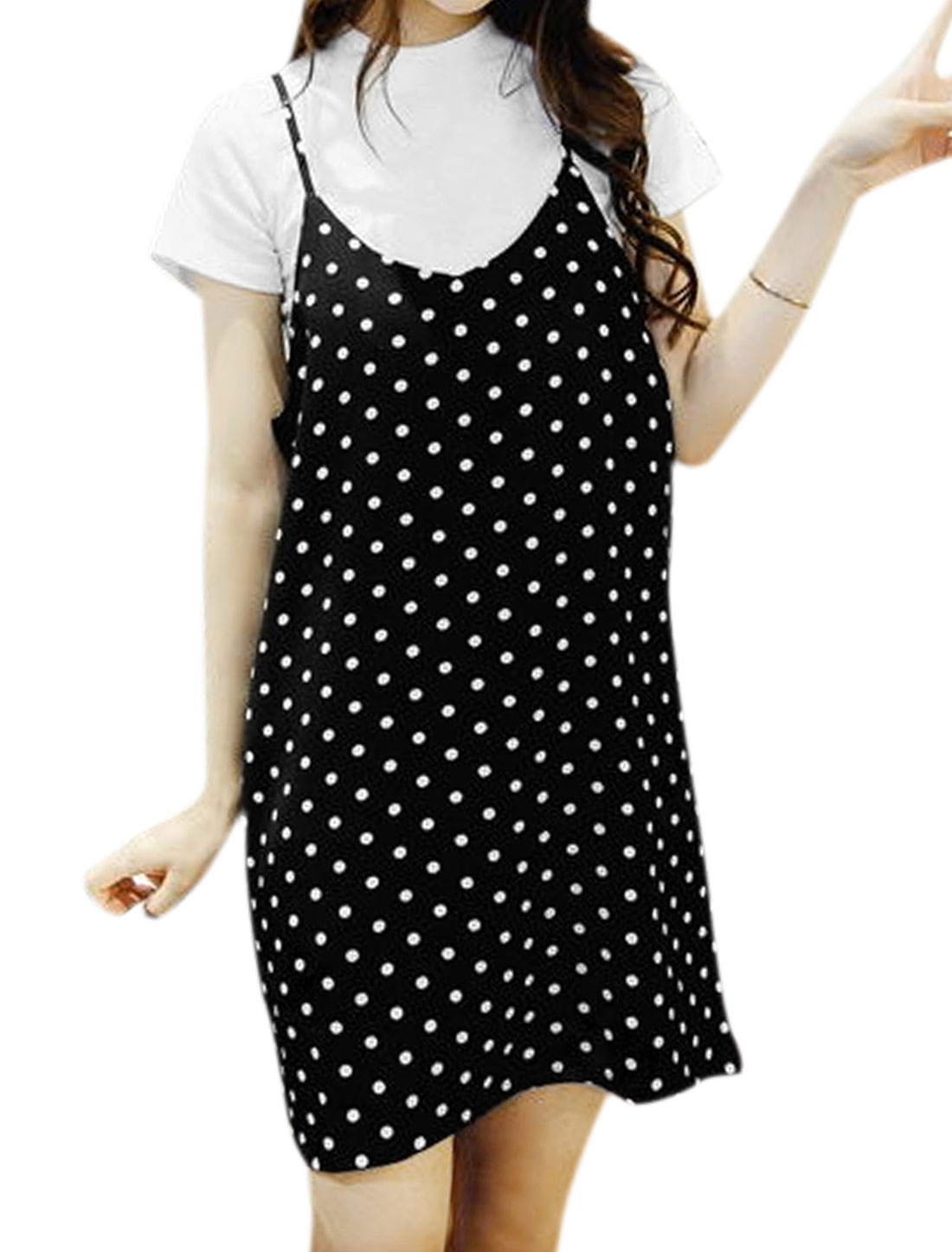 Women Mock Neck Basic Tee w Polka Dots Tunic Cami Dress Sets Black XS