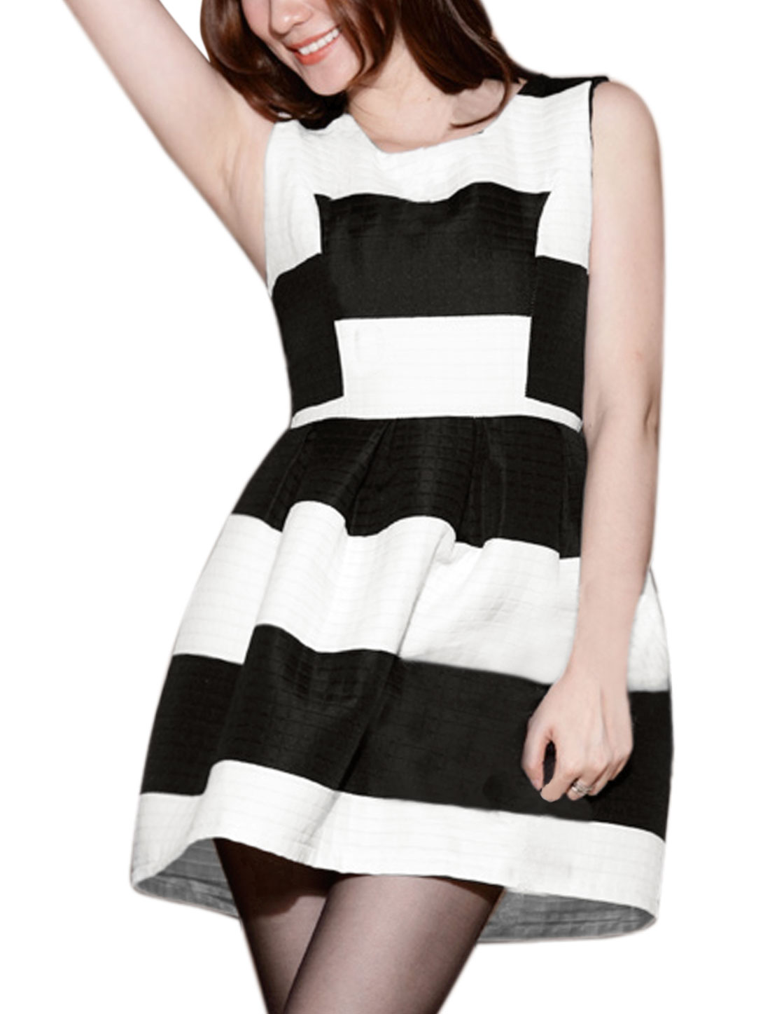 Women Sleeveless Contrast Color Stripes Pleated A Line Dress White Black XS