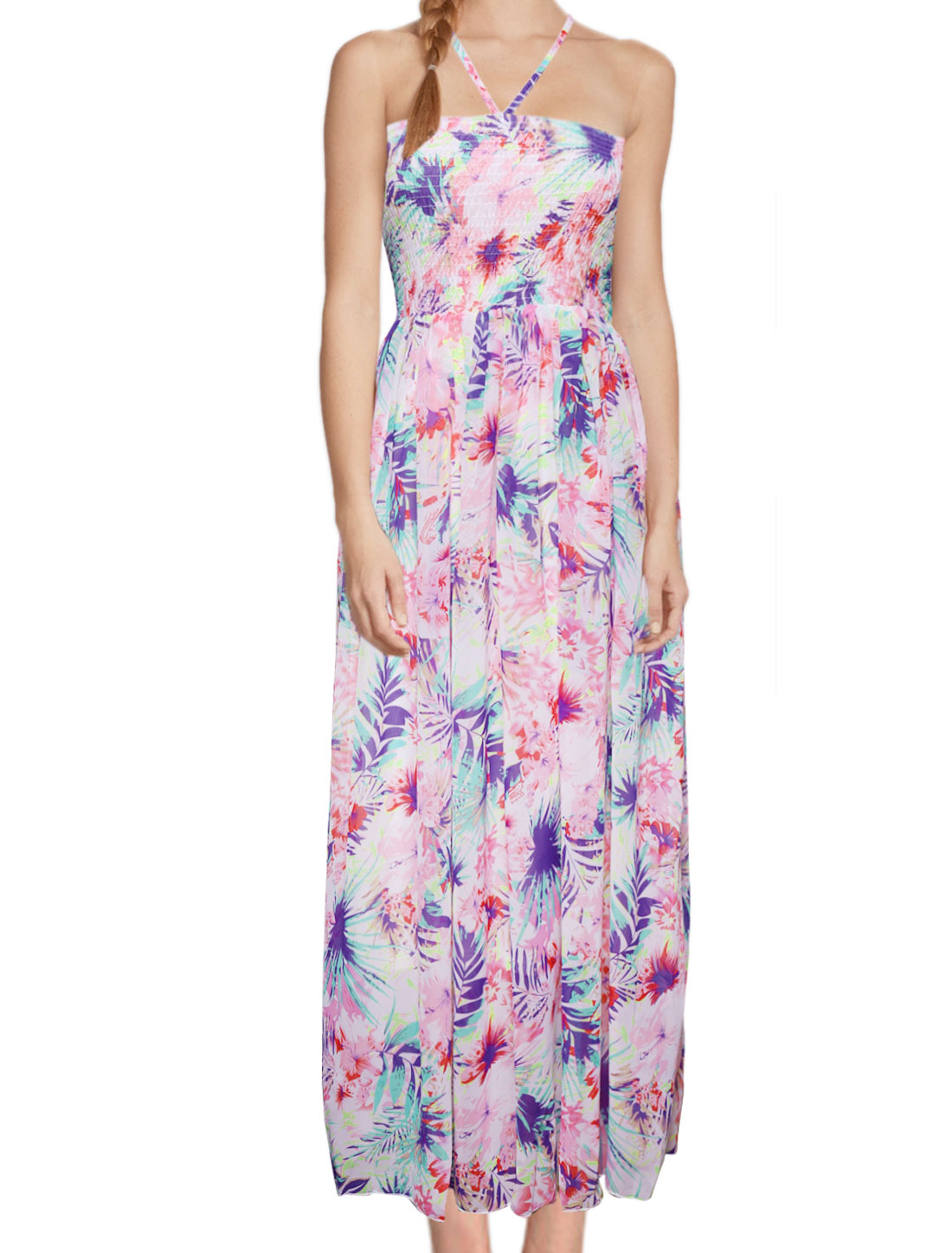 Women Smocked Bust Halter Neck Floral Maxi Dress Pink XS