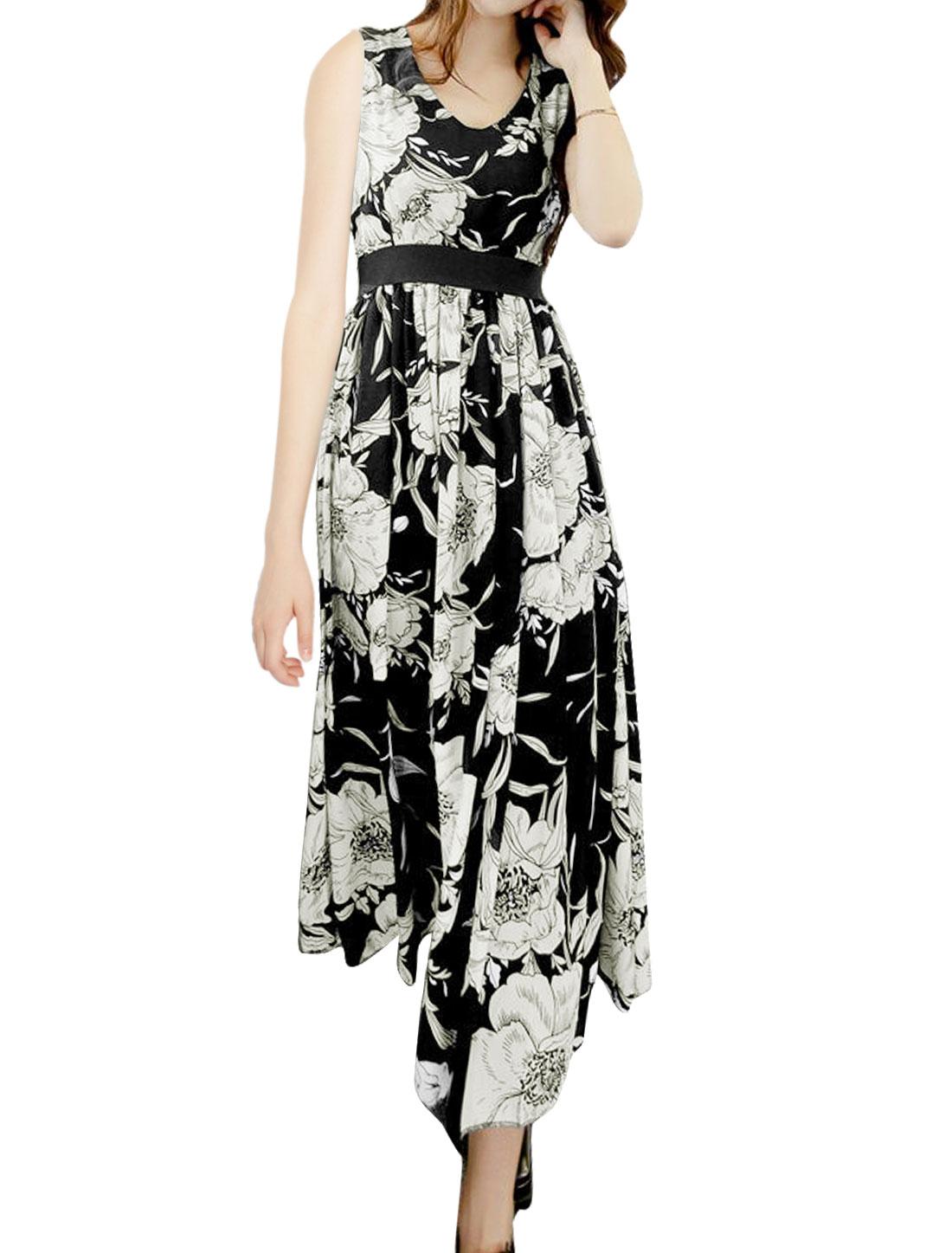 Women V Neck Sleeveless Floral Maxi Dress Black S