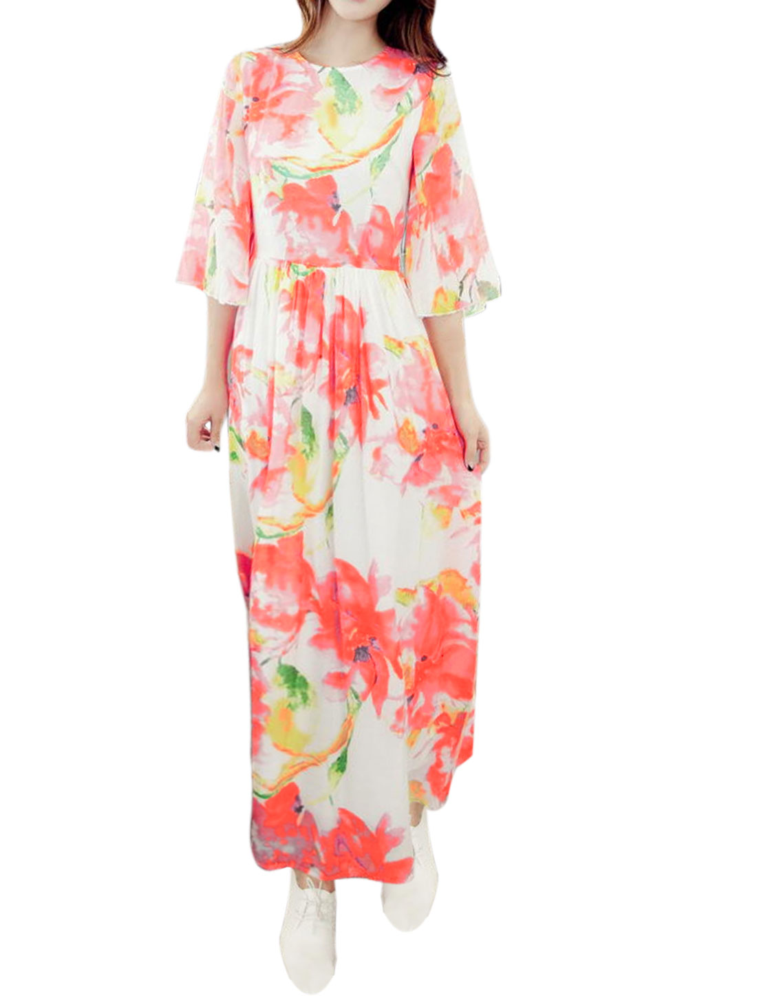 Women Crew Neck Trumpet Sleeves Floral Maxi Dress Pink XS