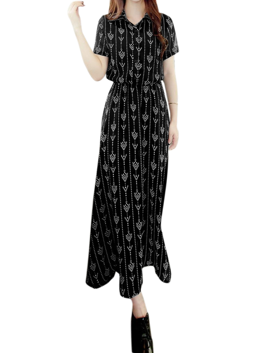 Women Point Collar Novelty Print Shirt Dress Black XS