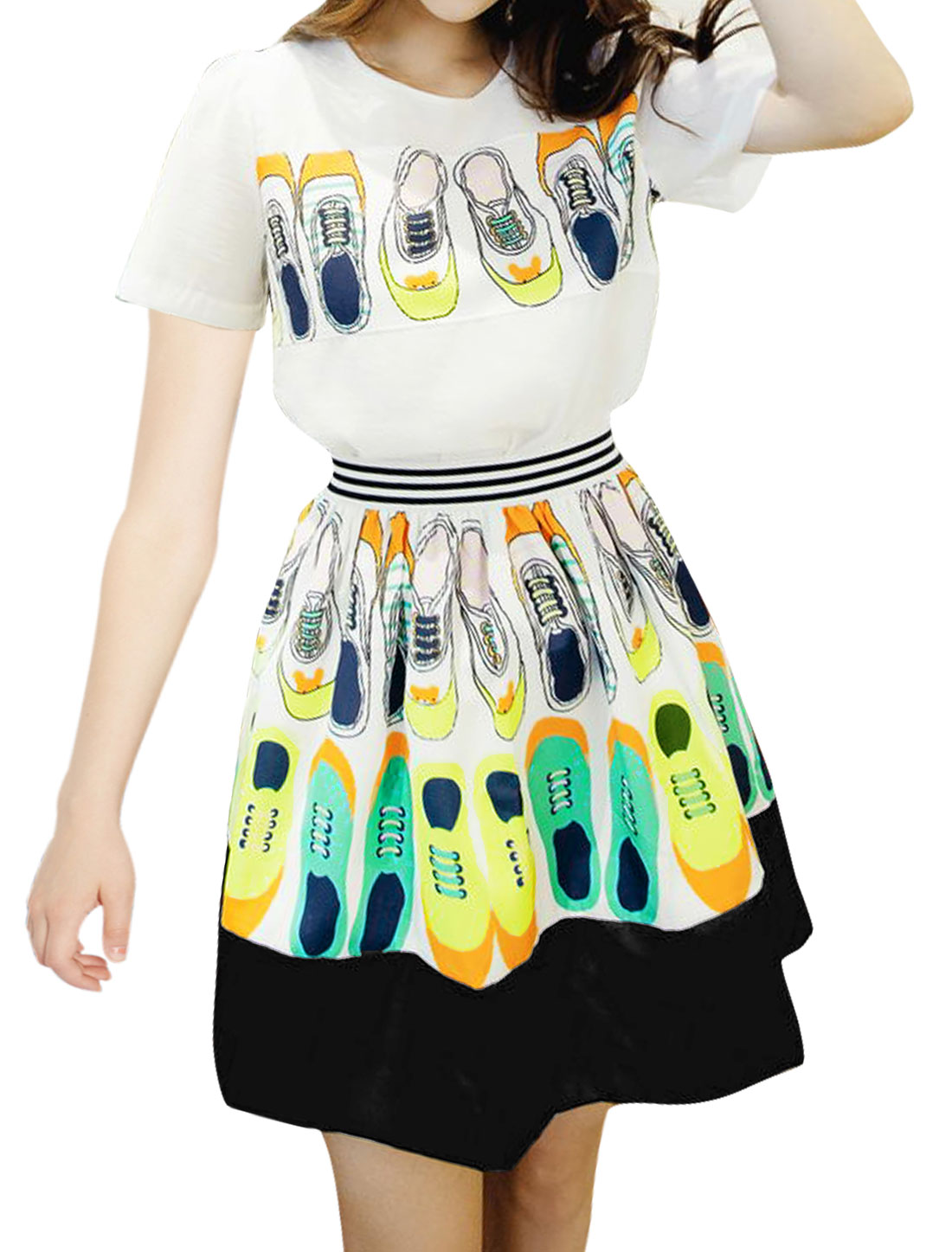 Women Shoes Pattern Top w Paneled Skater Skirt Sets White S