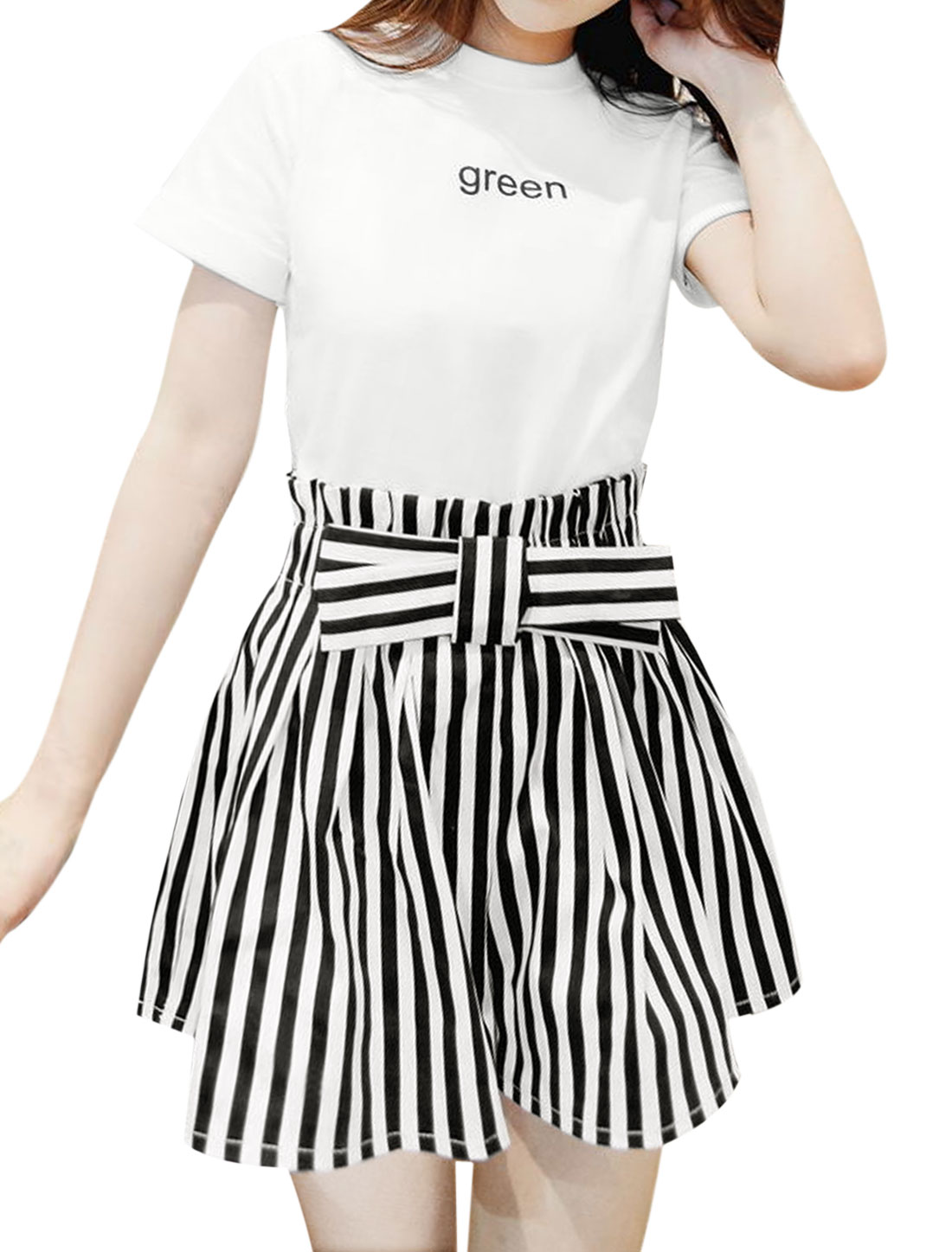 Women Letters Tee w Bowknot High Rise Loose Stripes Shorts White XS