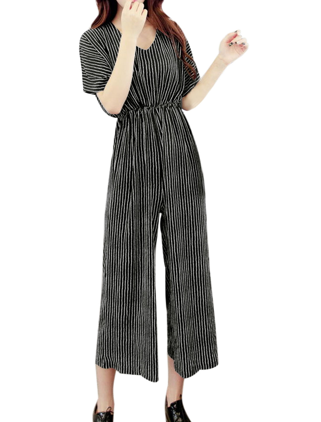 Women Batwing Sleeves Stripes Wide Leg Capris Jumpsuit Black XS
