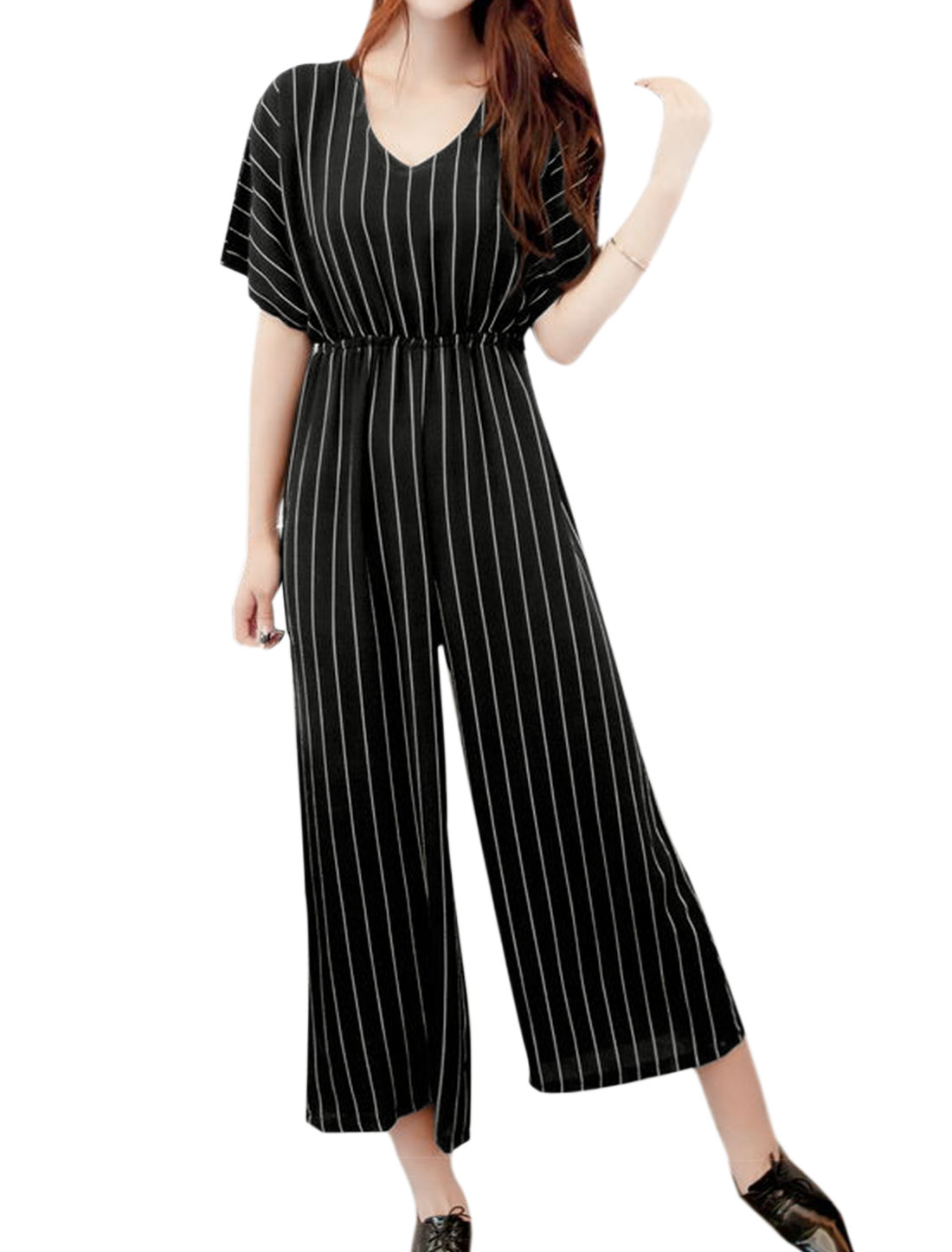 Women Batwing Sleeves Stripes Wide Leg Capris Jumpsuit Black XS