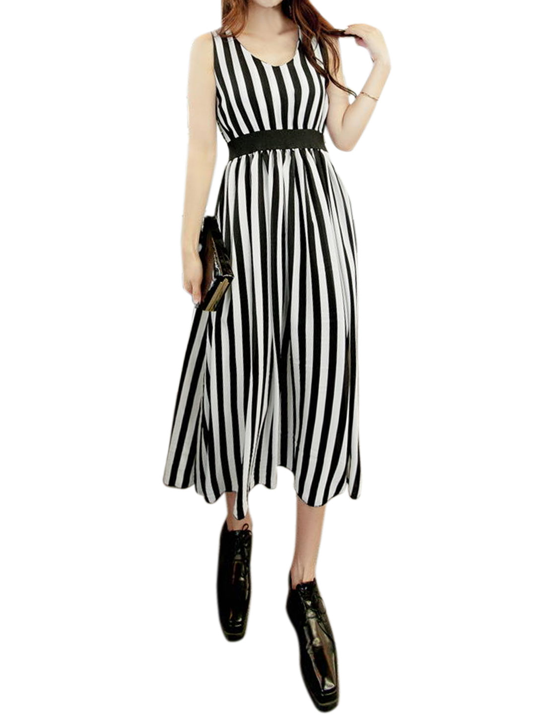 Women Sleeveless V Neck Lace Panel Stripes Midi Dress Black S