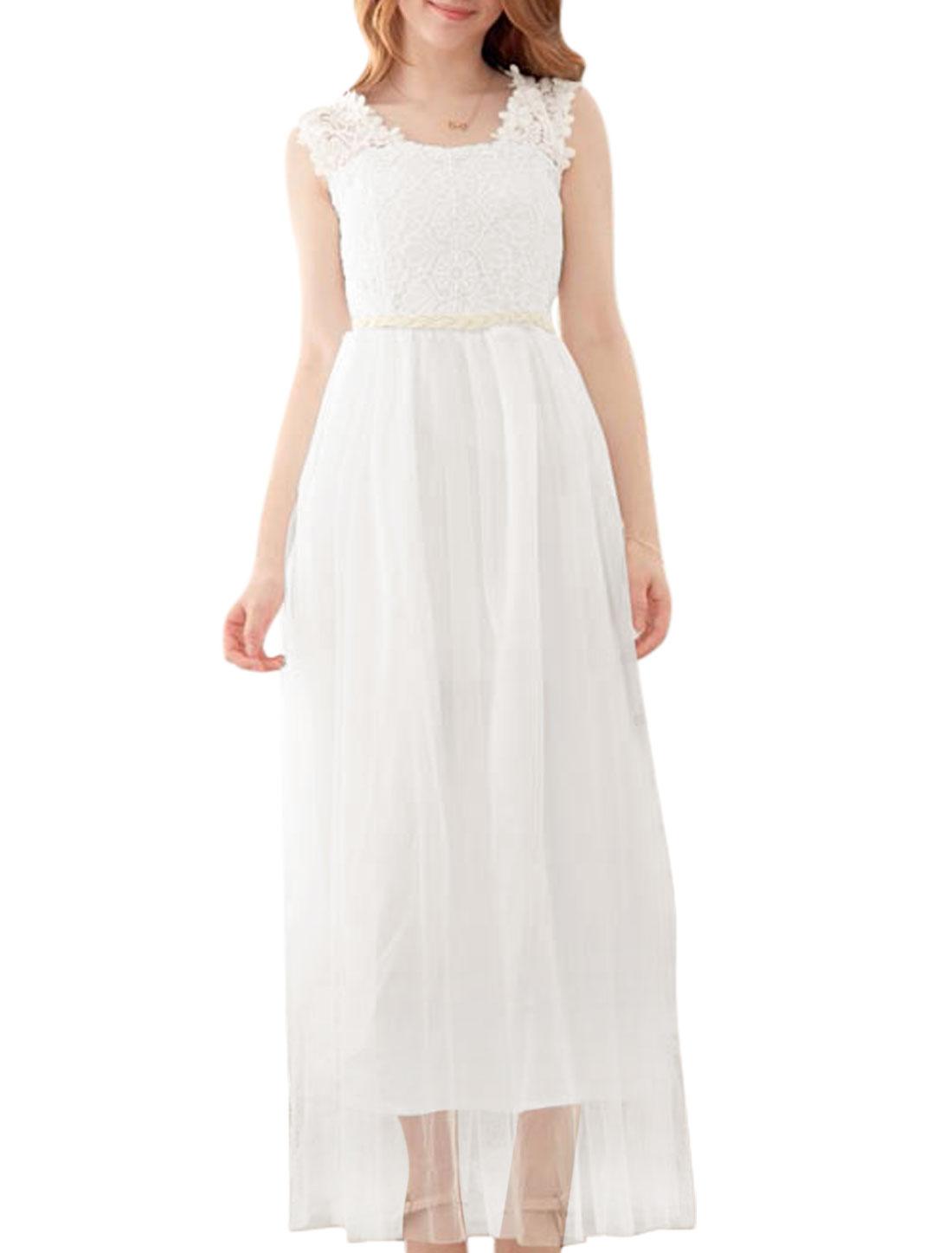 Women Beads Decor Crochet Mesh Maxi Dress White XS