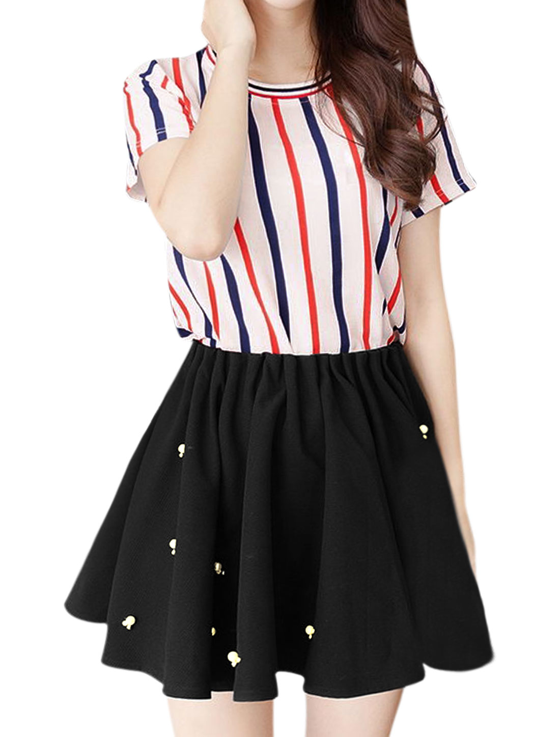 Woman Stripes Top w Beads Decor Pleated Skorts Sets White Black S