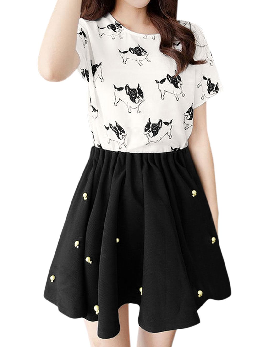 Woman Dogs Top w Beads Decor Pleated Skorts Sets Black White S