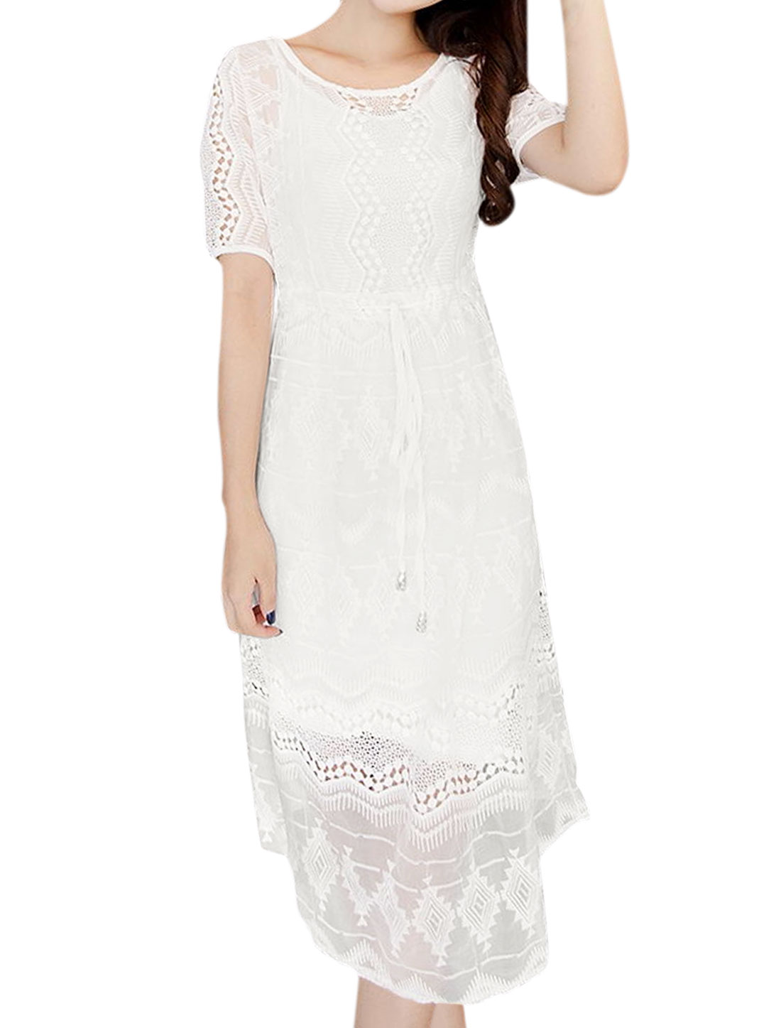 Women Slim Fit Cami Dress w Organza Midi Dress Sets White XS