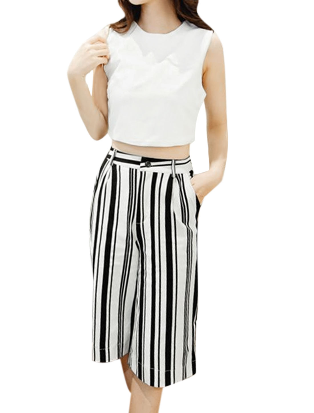 Woman Zipper Back Crop Top w Stripes Wide Leg Pants Sets White Black S