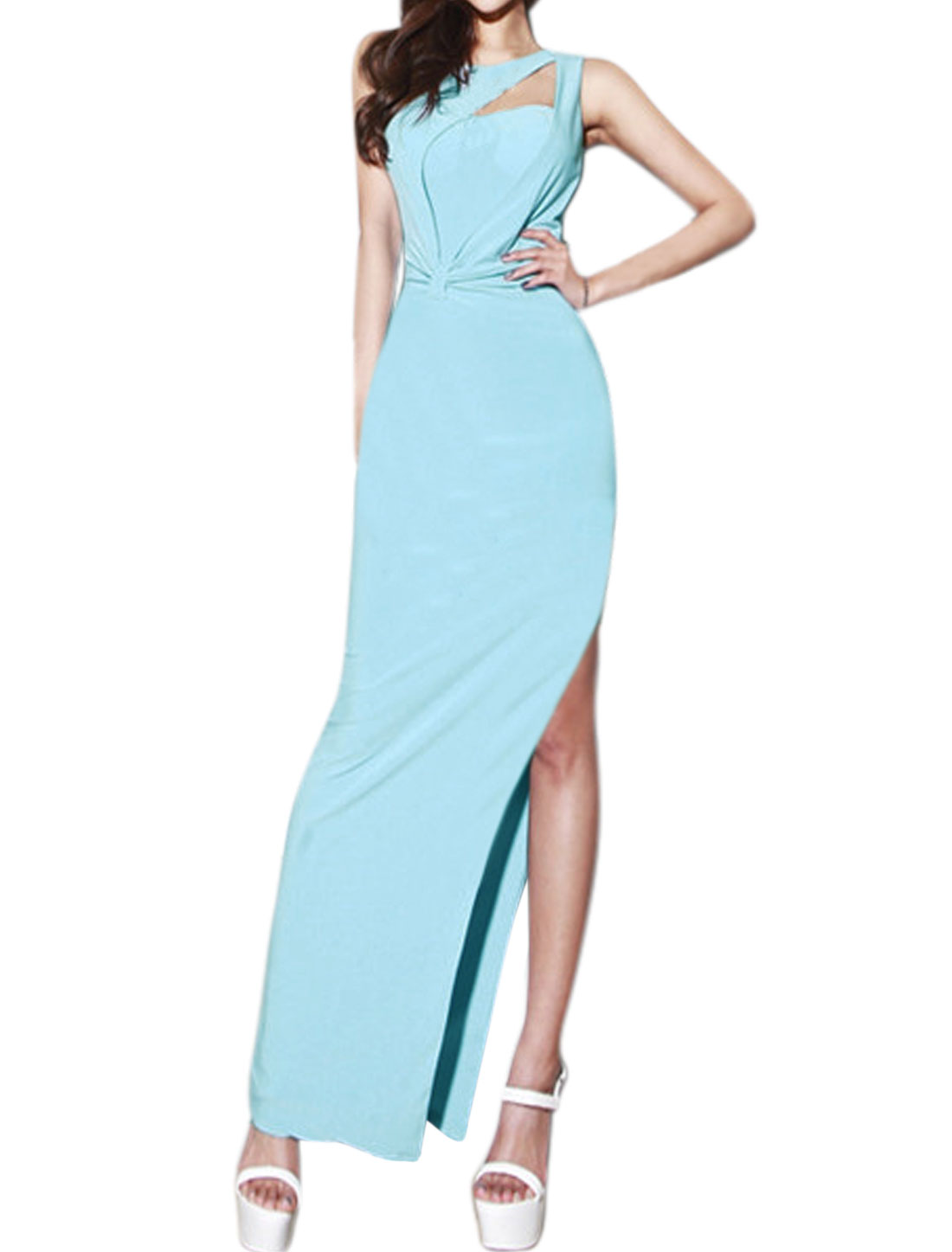 Women Cut Out Layered Split Bodycon Maxi Dress Blue S
