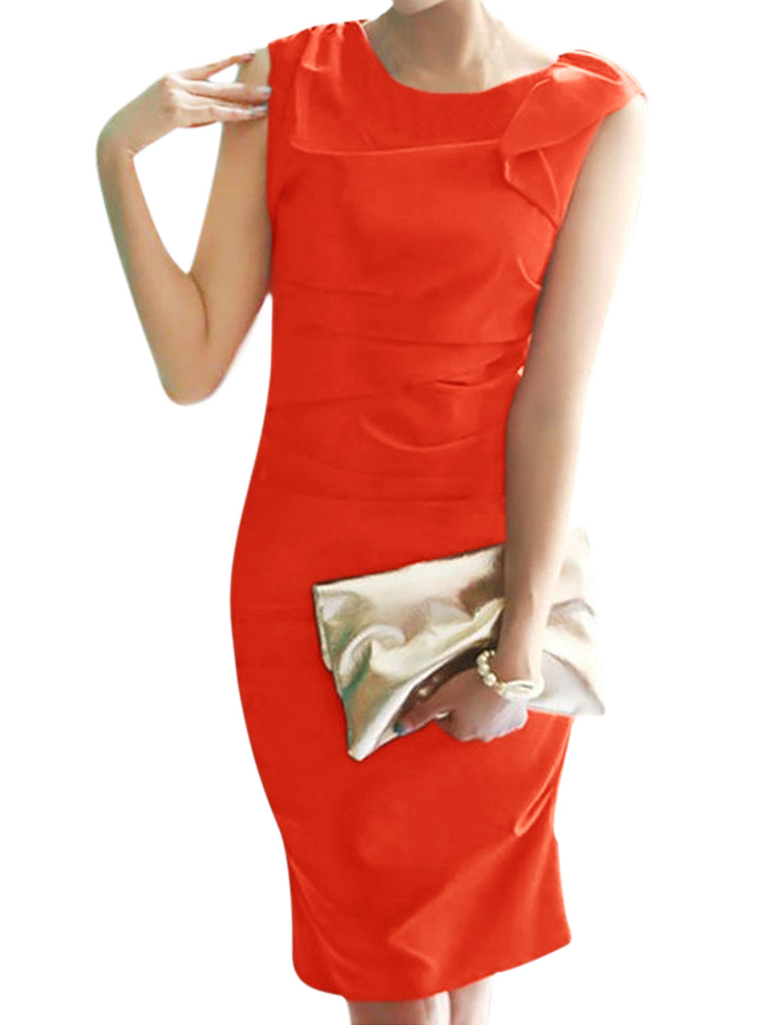 Ladies Ruffled Sleeveless Ruched Wiggle Dress Red S
