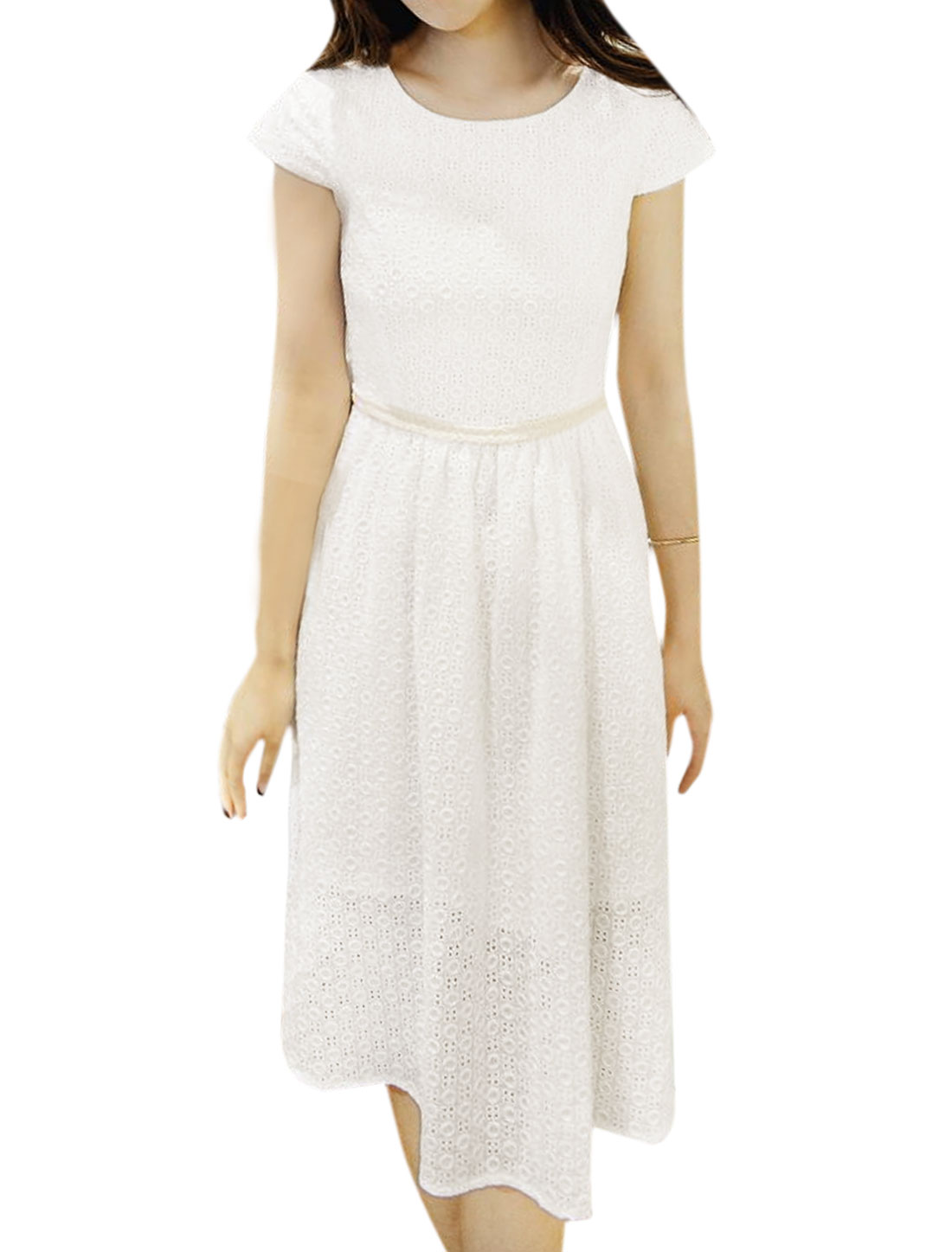 Women Cap Sleeves Embroidery Design Textured Casual Dress White XS