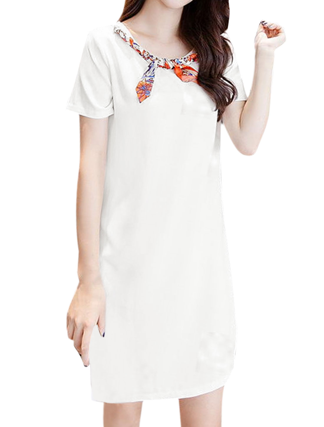 Women Round Neck Braided Knot Tunic Dress White XS