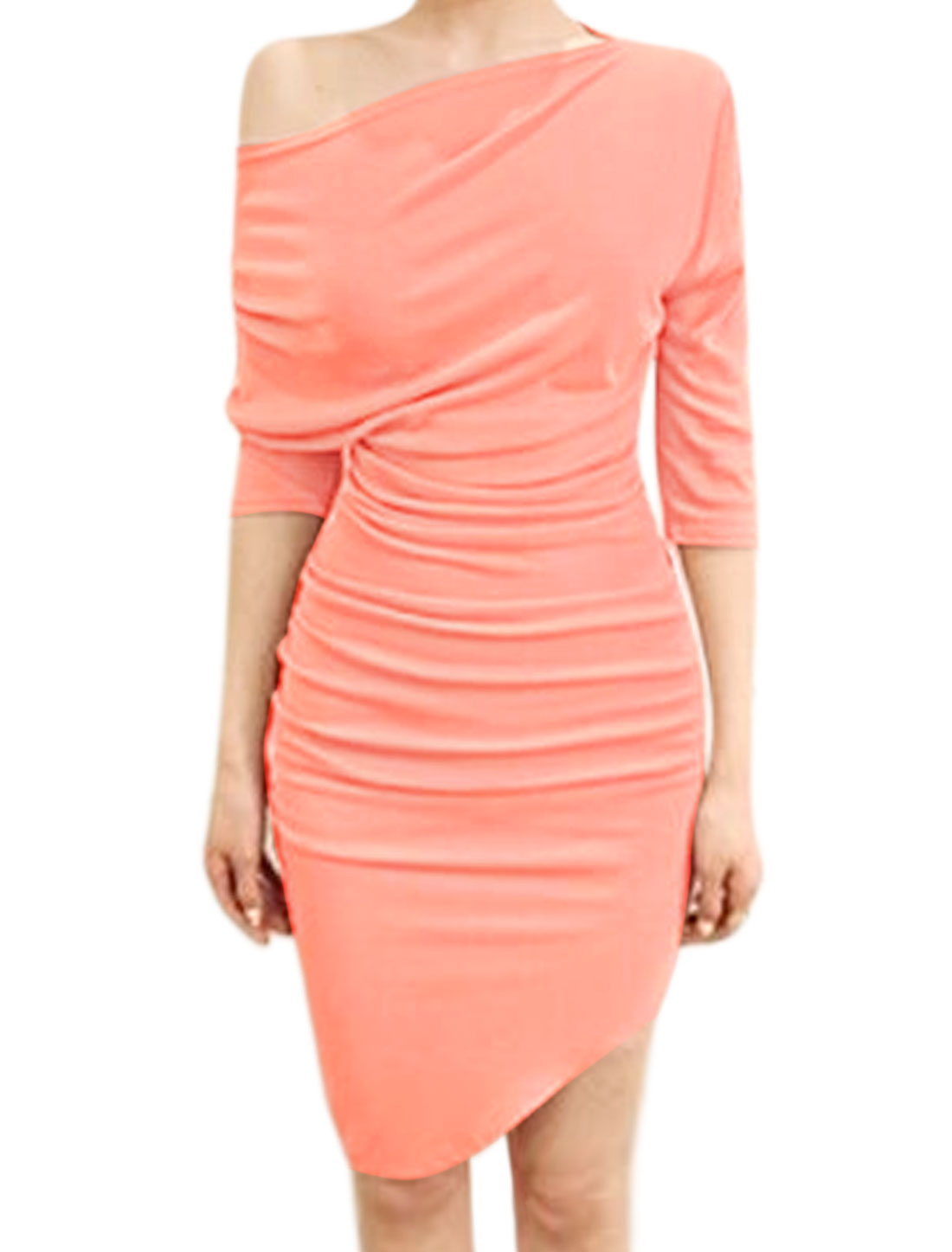 Women Off Shoulder 3/4 Sleeves Ruched Design Pencil Dress Pink XS