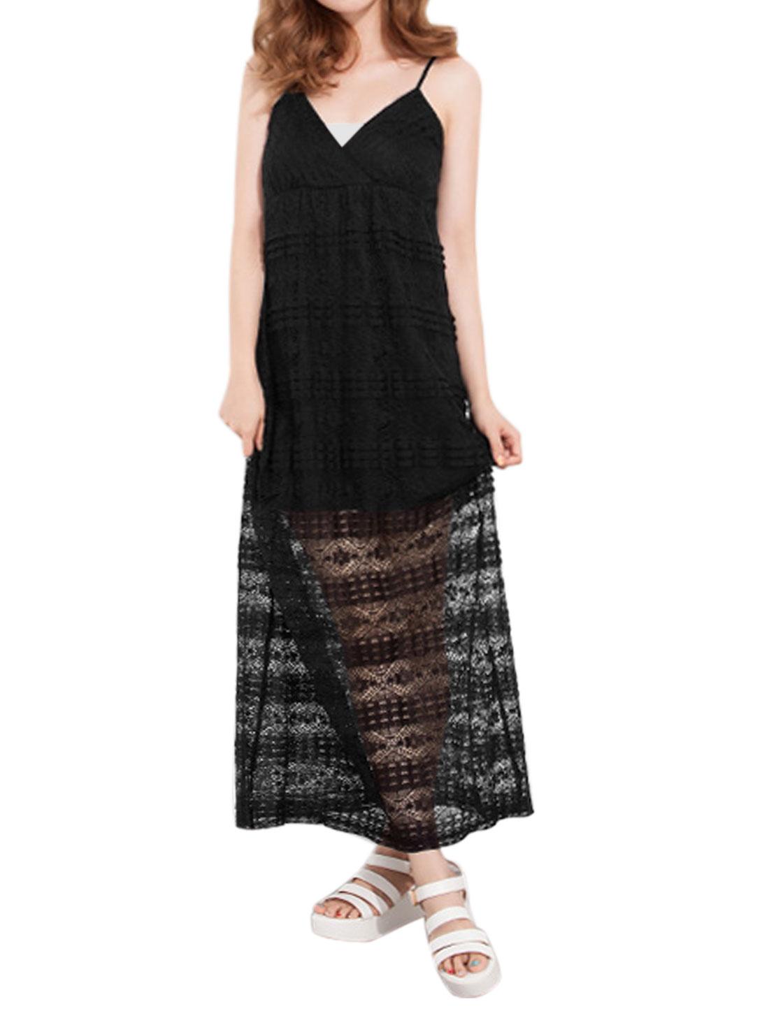 Women Spaghetti Strap Empire Waist Crossover V Neck Lace Maxi Dress Black XS