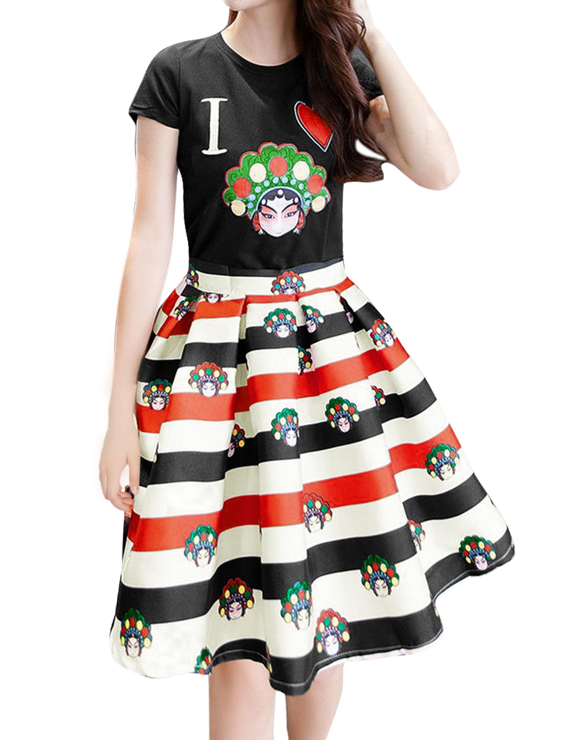 Lady Opera Facial Makeup T-Shirt w Stripes Full Skirt Sets Black White M