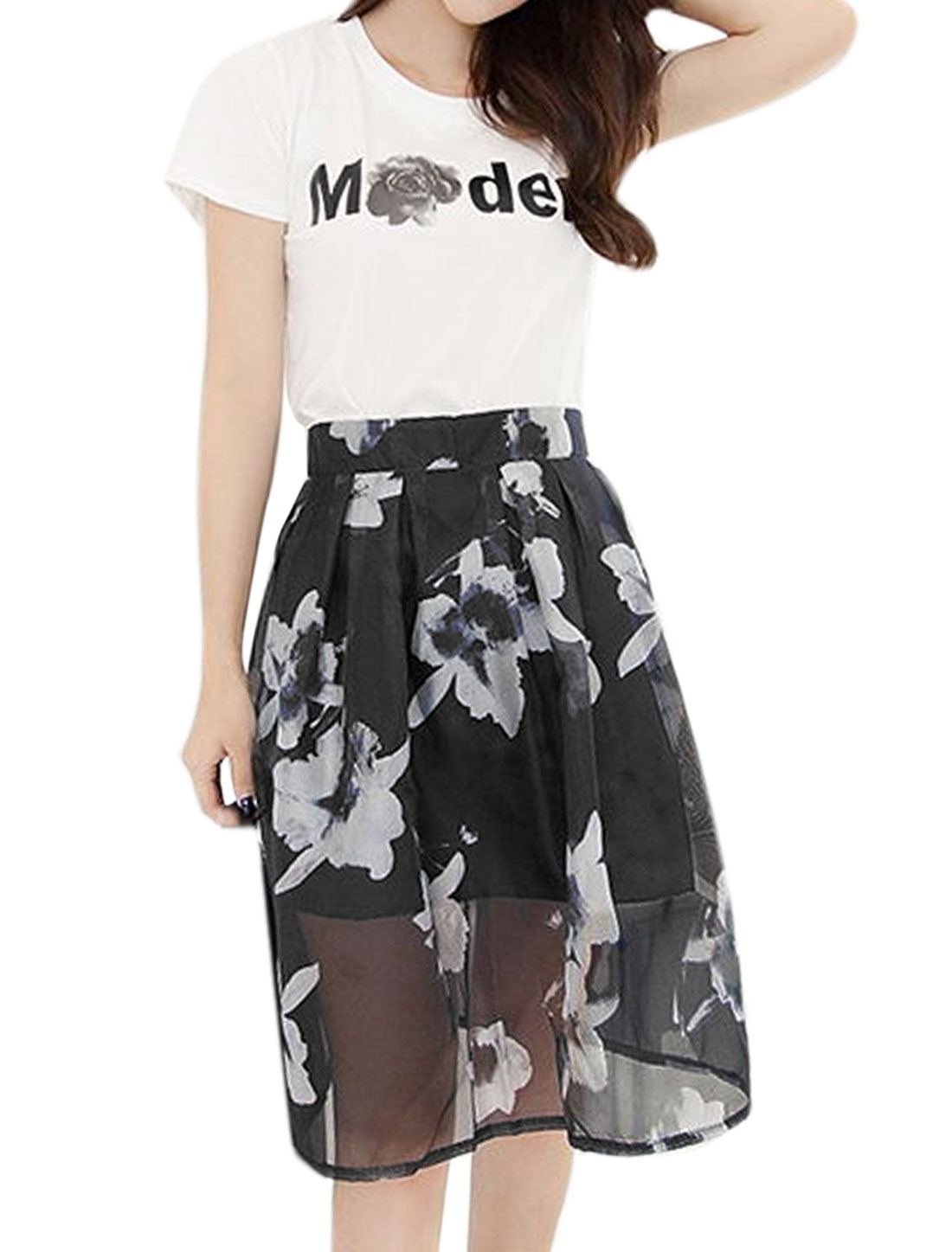 Woman Round Neck Letters T-Shirt w Floral Midi Skirt Set White Black S