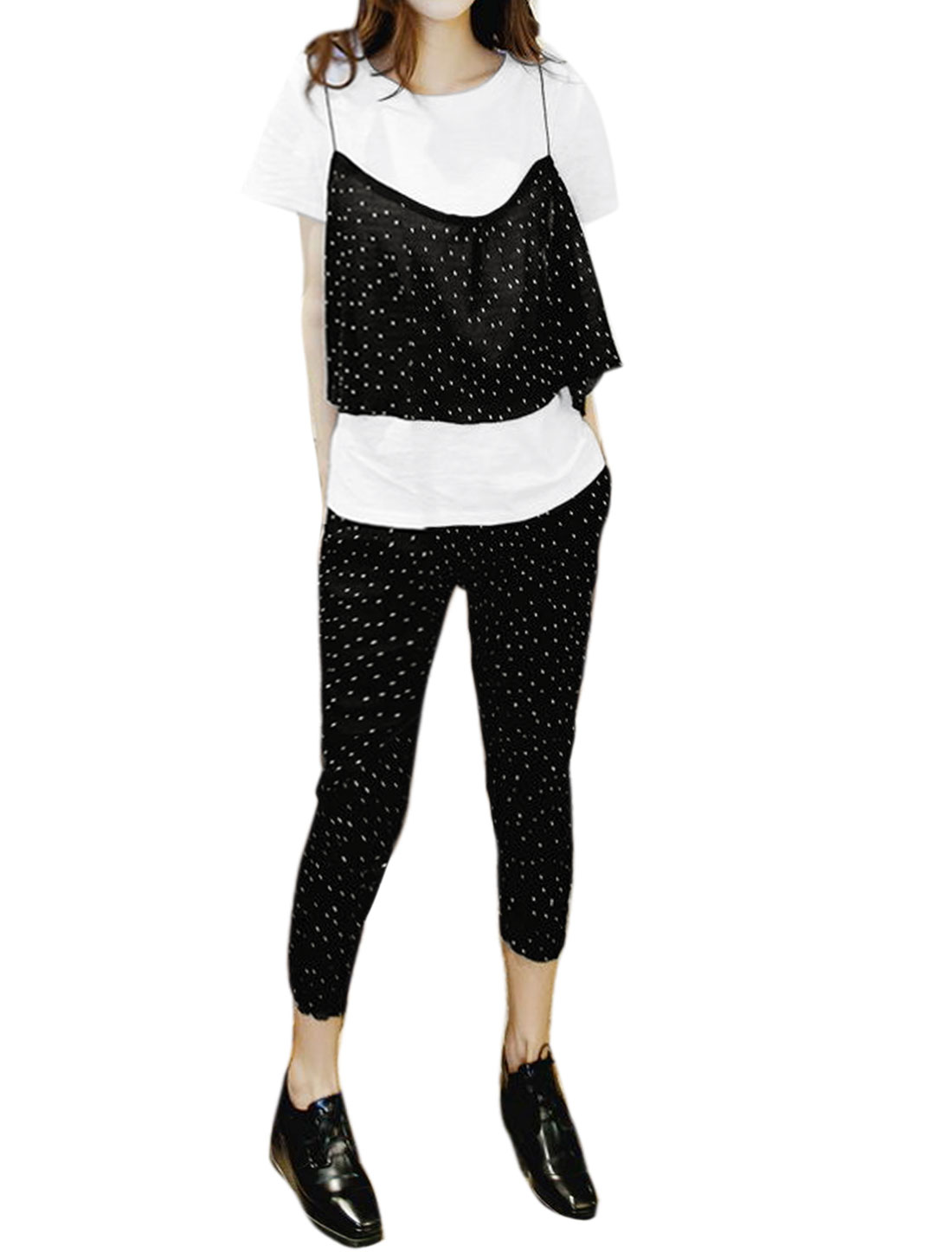 Lady Basic Tee Crop Cami w Dots Capris Pants Sets Black White XS