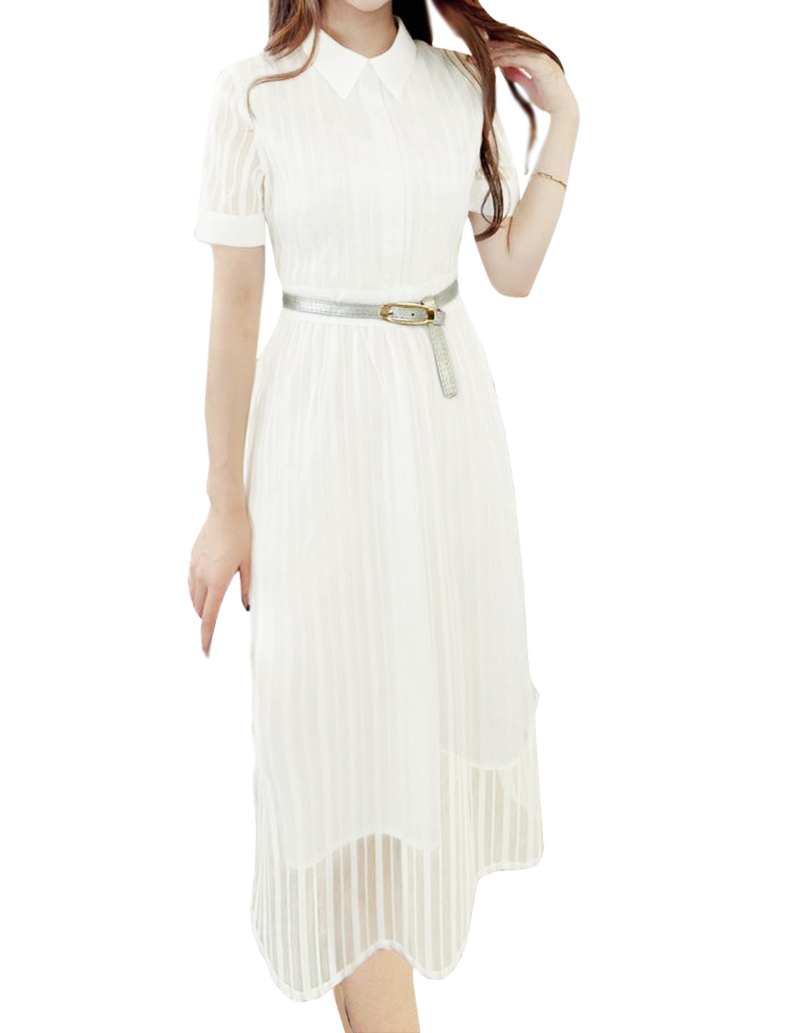 Women Point Collar Stripes Organza Midi Dress w Belt White XS