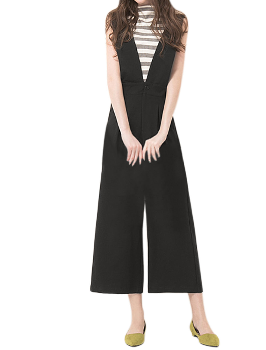 Women Deep V Neck Pleated Zip Fly Wide Leg Cropped Suspender Pants Black XS