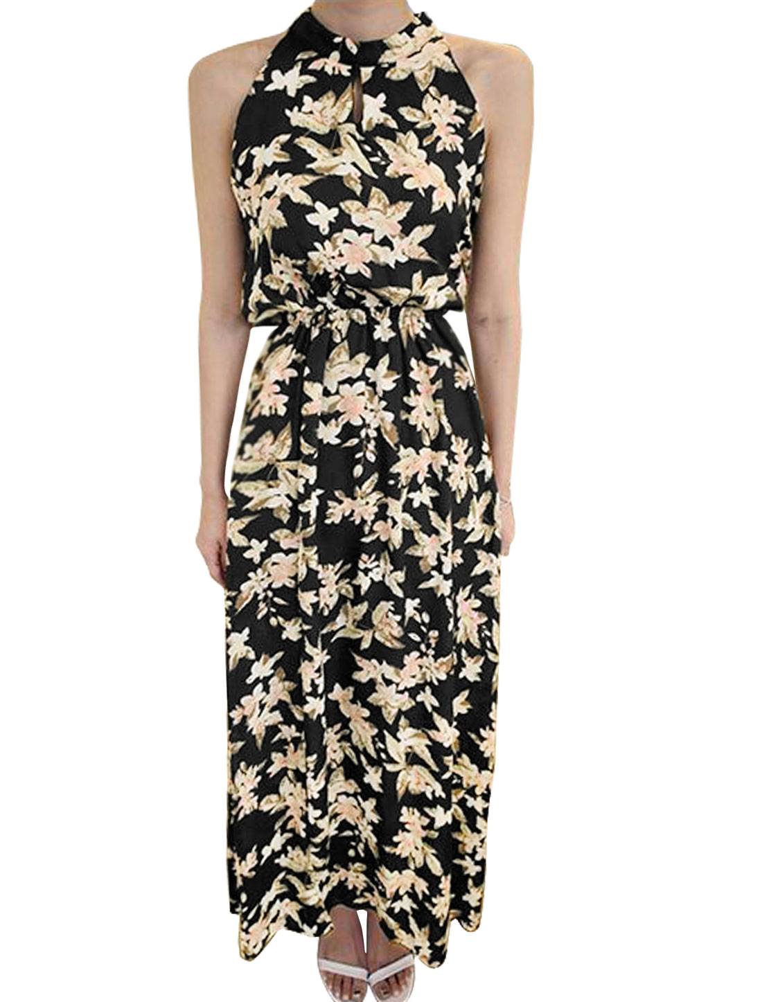 Women Halter Neck Elastic Waist Split Hem Floral Prints Maxi Dress Black XS