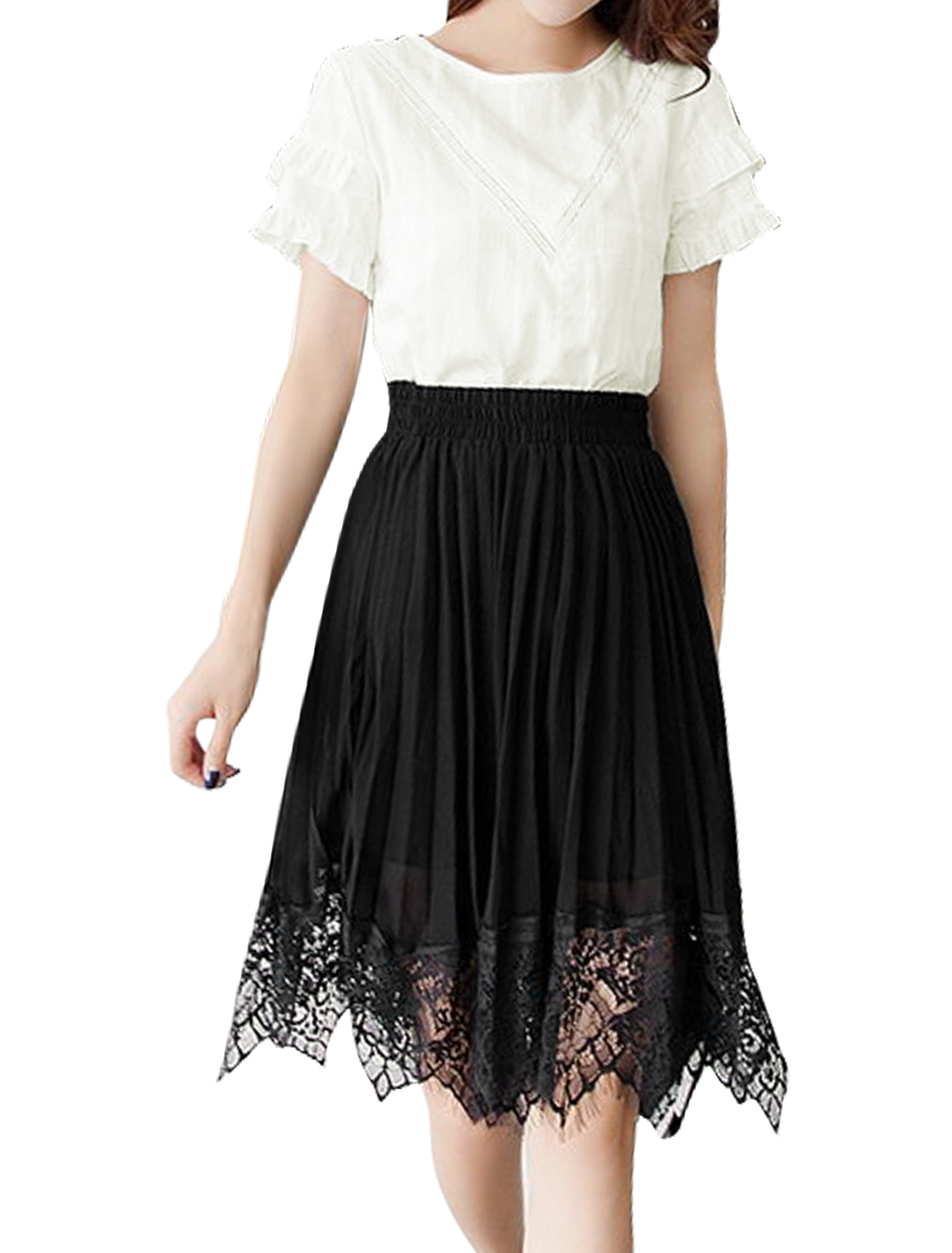 Women Ruffle Sleeves Top w Pleated Lace Panel Chiffon Skirt Sets White XS