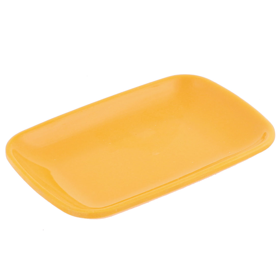 Plastic Rectangle Shape Dessert Cake Appetizer Plate Yellow