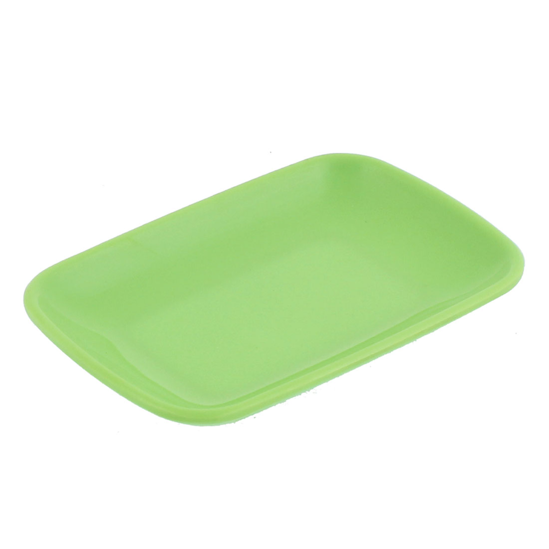 Plastic Rectangle Shape Dessert Cake Appetizer Plate Green