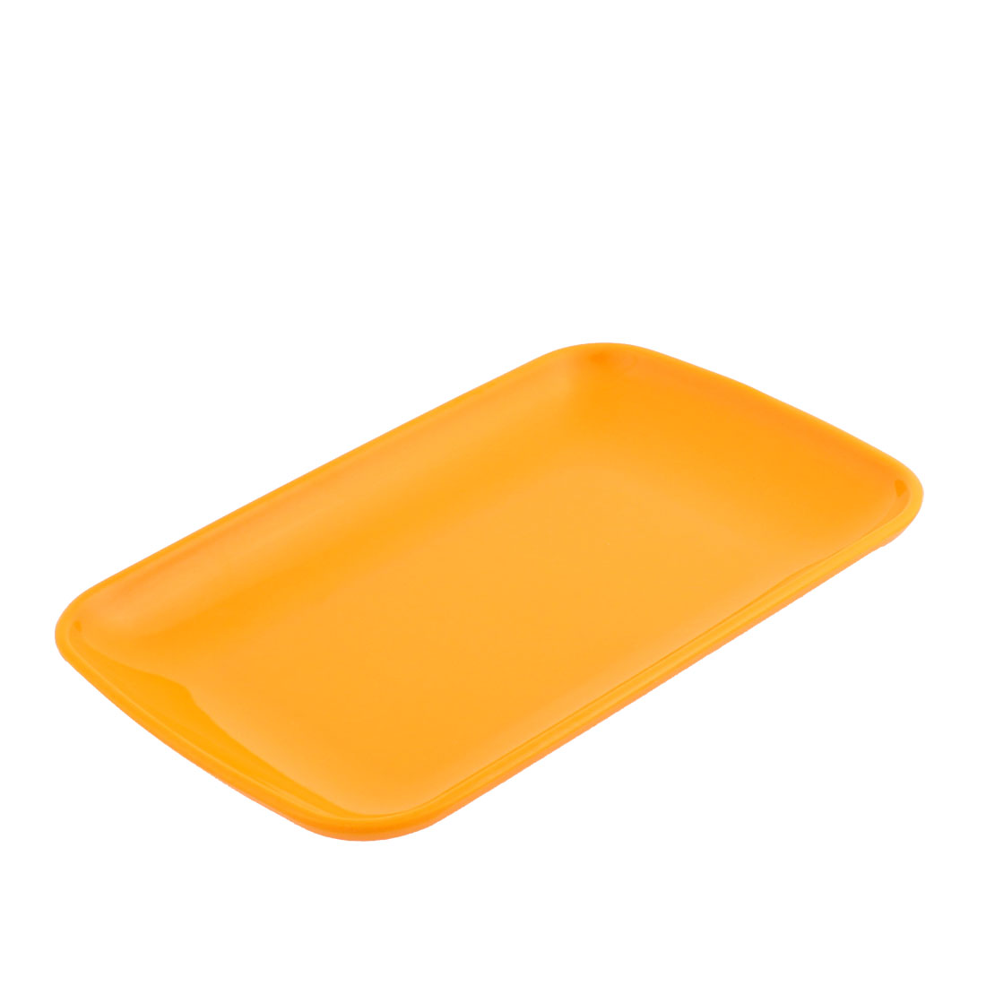 Plastic Rectangle Shape Dinner Dessert Vermicelli Plate Dish Yellow