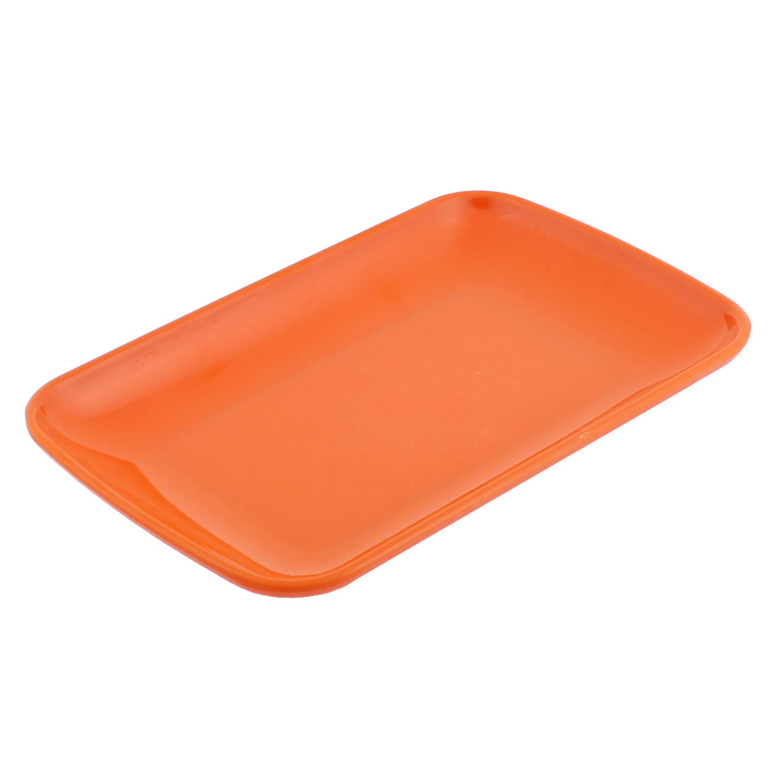 Plastic Rectangle Shape Dinner Dessert Vermicelli Plate Dish Orange