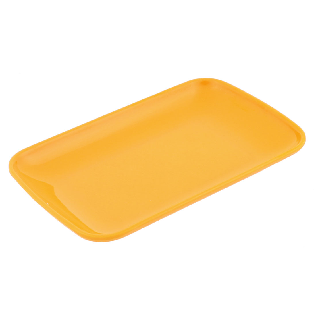 Plastic Rectangle Design Dessert Appetizer Vermicelli Plate Yellow
