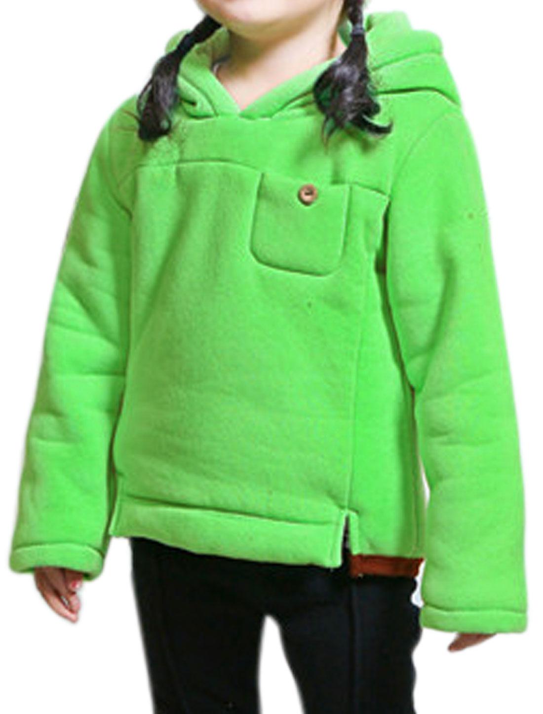Girls One Pocket Side Split Slipover Hooded Sweatshirt Green 10