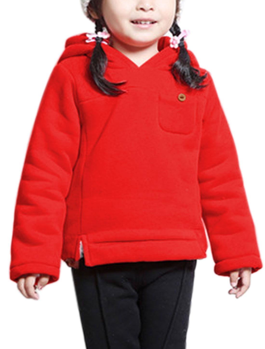 Girls Side Split Soft Lining Hooded Sweatshirt Red 10
