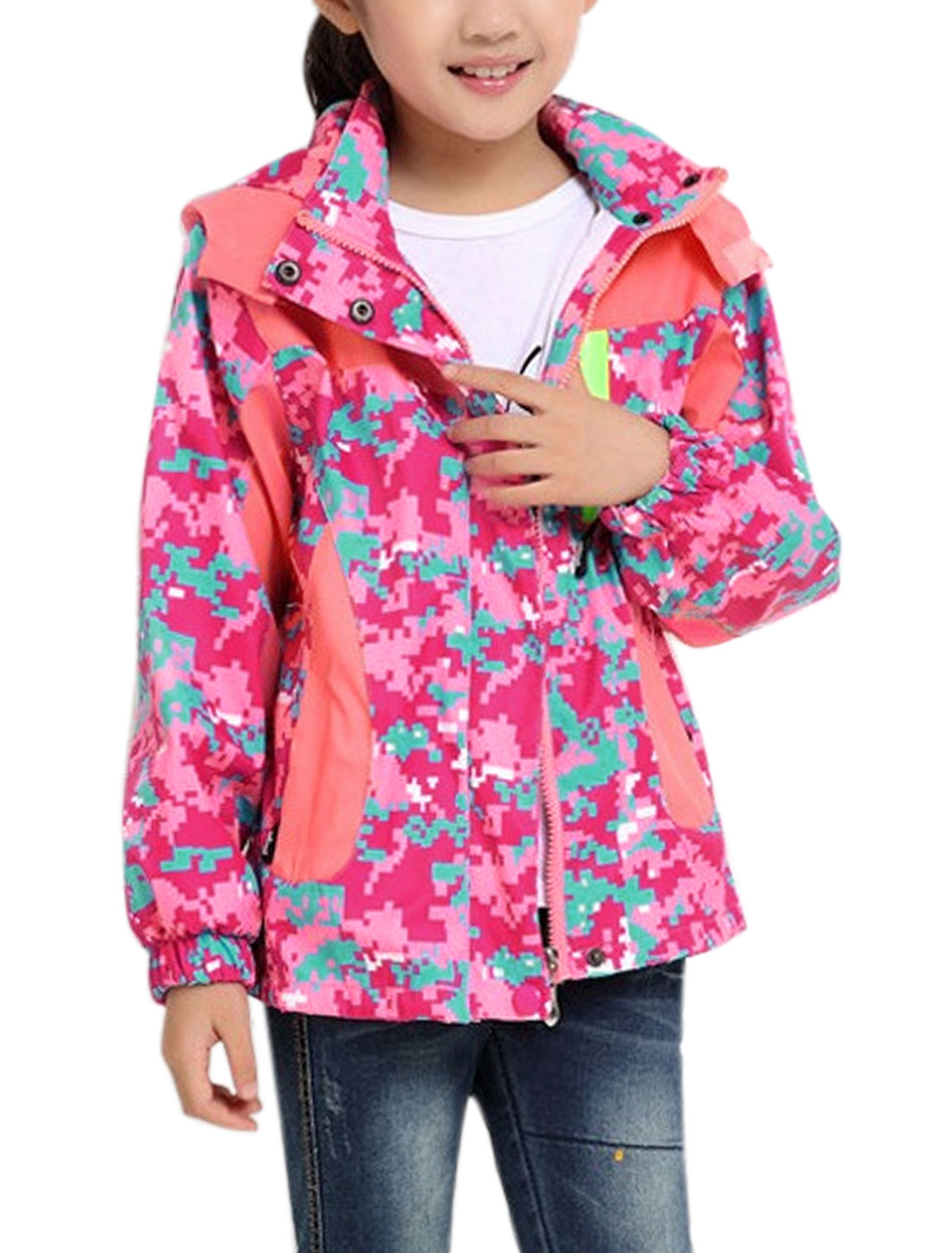 Girls Two Pockets Camouflage Print Hooded Zip Up Jacket Pink 16