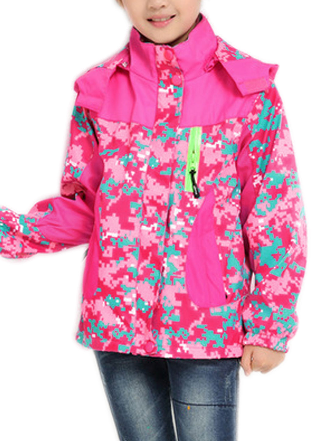 Girls Hooded Hidden Zipper Front Camouflage Print Jacket Fuchsia 12