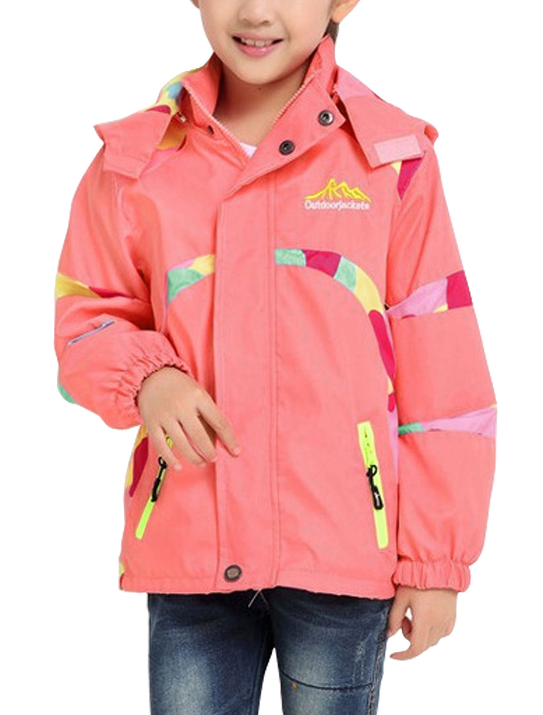 Girls Detachable Hood Zip Closure Contrast Color Jacket Pink 14