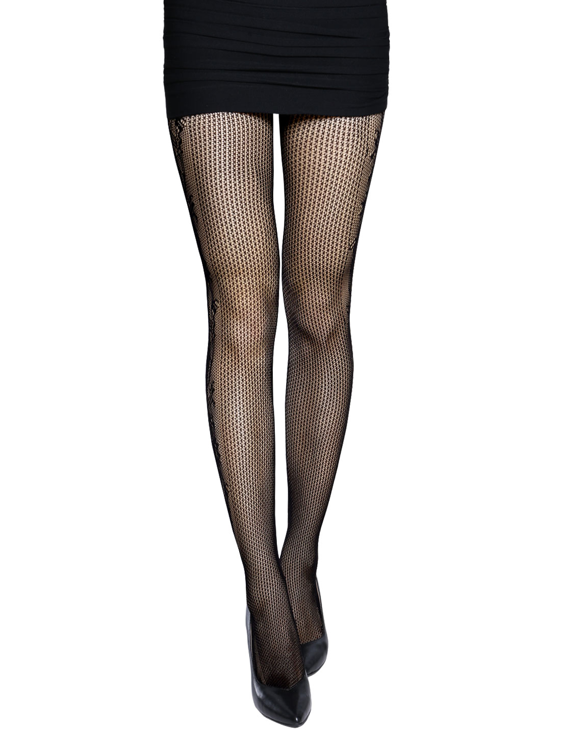 Women Elastic Waist See Through Floral Design Sexy Fishnet Pantyhose Black XS