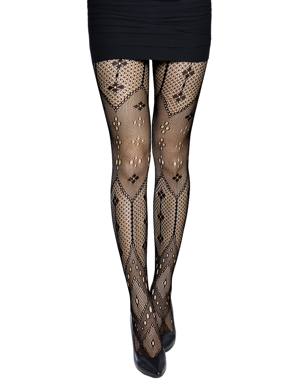 Women Hollow Out Floral Pattern Sexy Fishnet Pantyhose Black XS