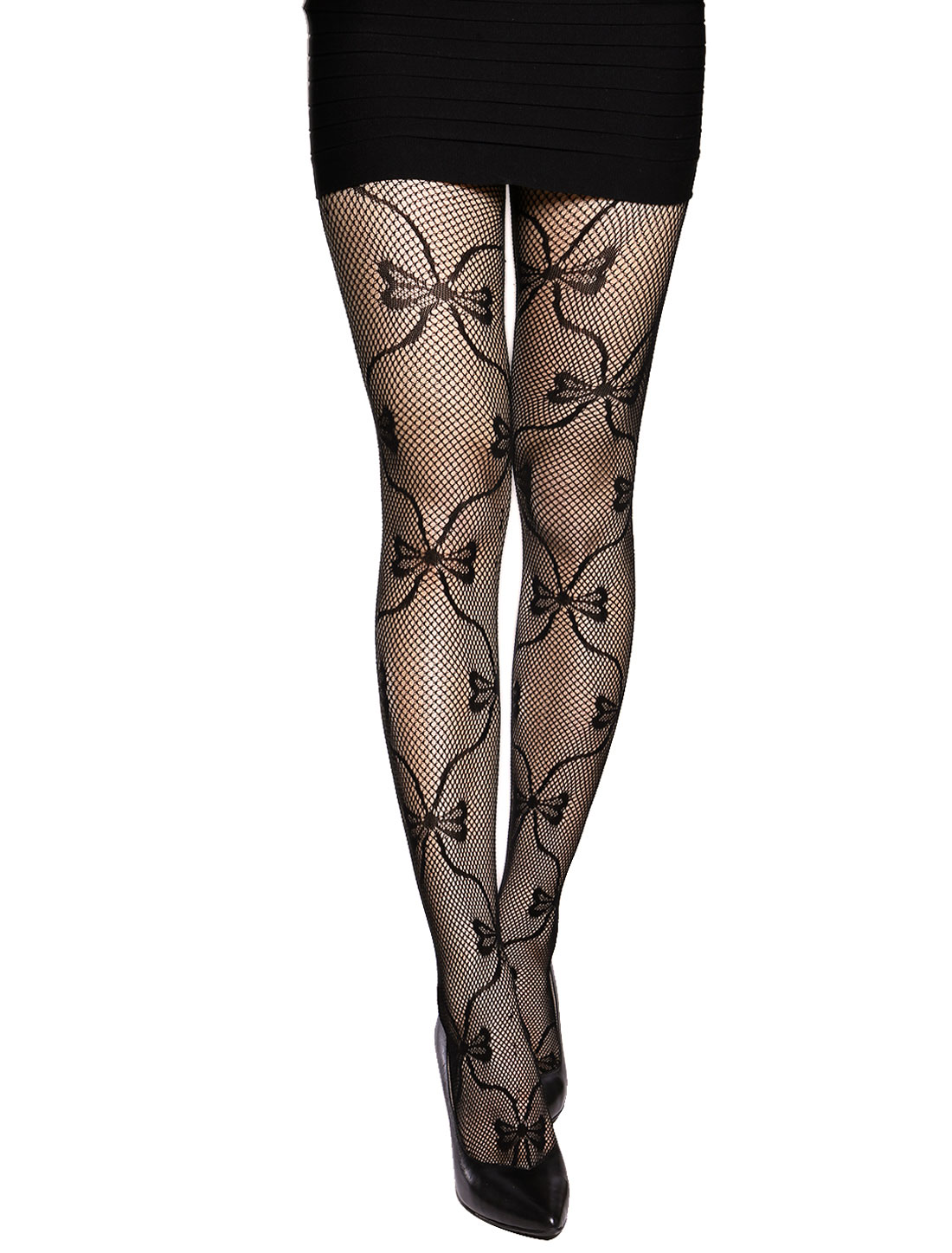 Women Sexy Bowknot Design Full Footed Fishnet Tights Black XS