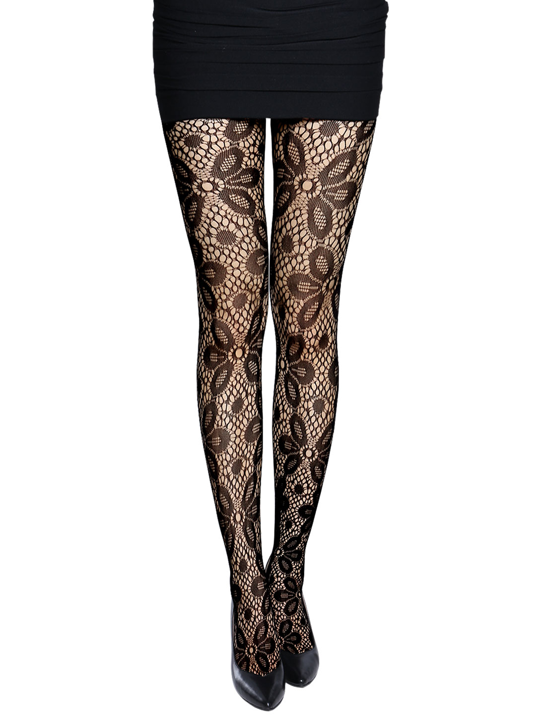 Women Stretchy Flower Design Hollow Out Sexy Fishnet Pantyhose Black XS