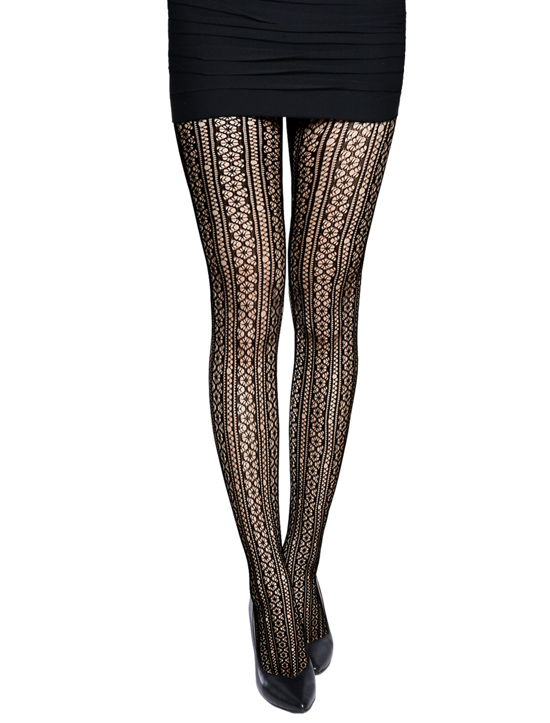 Women Stretchy Geometric Pattern Seamless Fishnet Pantyhose Black XS
