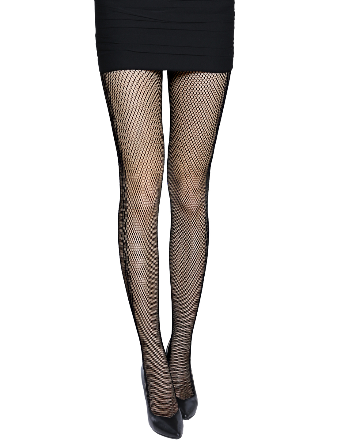 Women Argyle Pattern Sides Seamless Sexy Fishnet Pantyhose Black XS