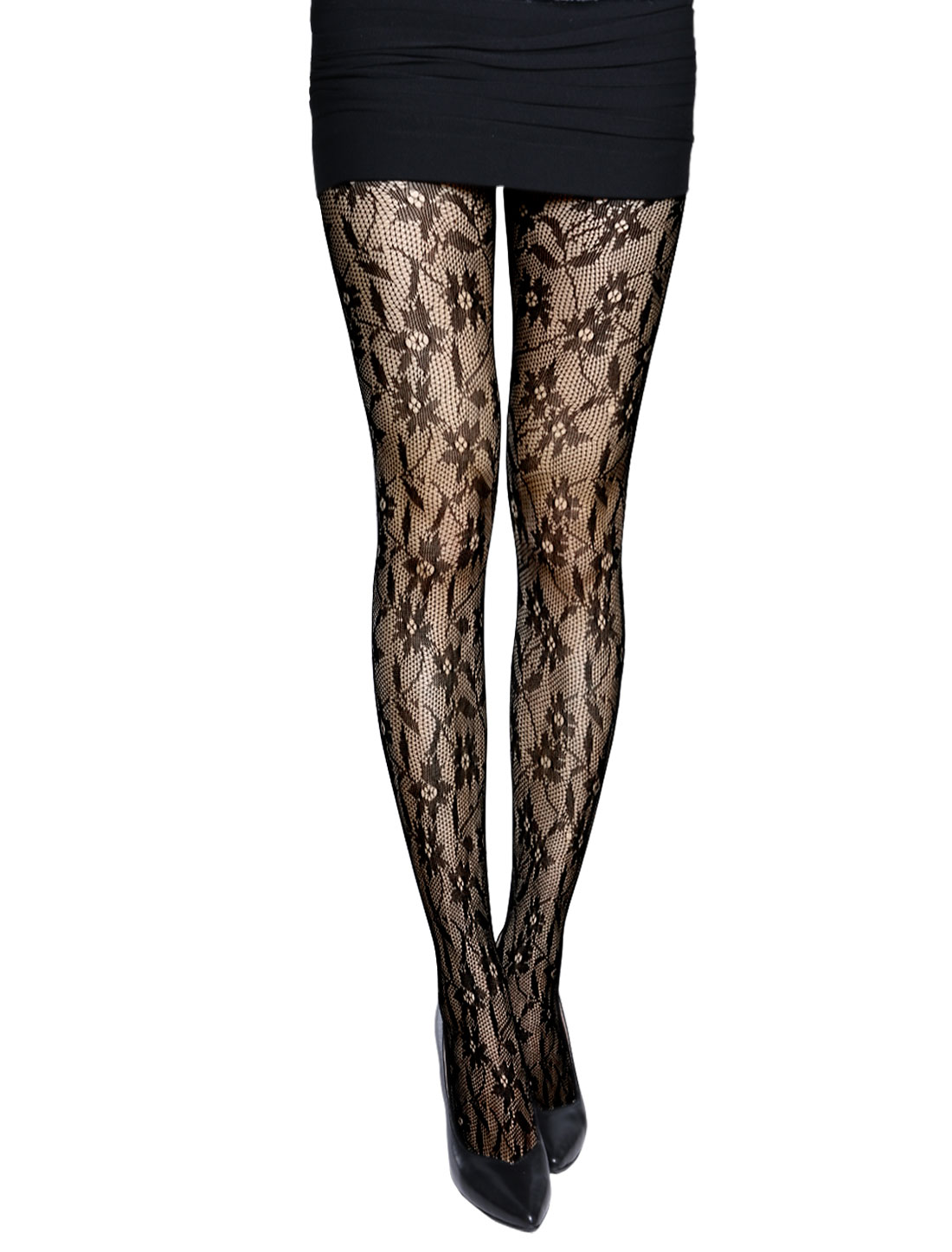 Women Seamless Sexy Flower Pattern Fishnet Tights Black XS