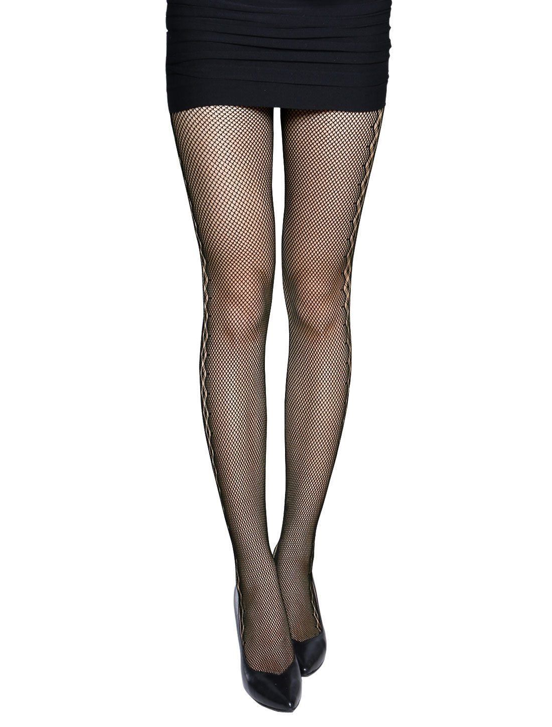 Women Cable Design Sides Sexy Fishnet Pantyhose Black XS