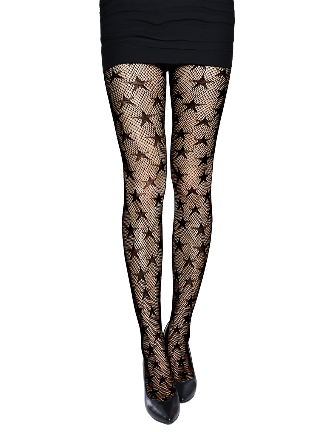 Women Stretchy Stars Design Seamless Sexy Fishnet Pantyhose Black XS